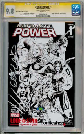 Ultimate Power #1 WWT Sketch Variant CGC 9.8 Signature Series Signed Greg Land Marvel comic book
